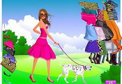 Игра Девушка гуляет с собакой