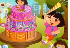 Игра День рождения Доры Украшение торта