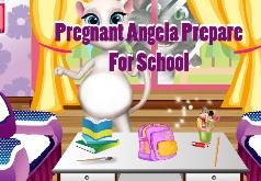 Игры Говорящая беременная Анжела готовится к школе