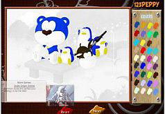 Игра Раскраска медведь и пингвины на рыбалке