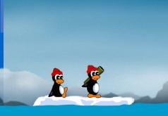 Игра Супер цыпленок борется против орды пингвина