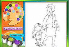 Игры Раскраска Каю на прогулке с мамой
