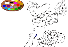 Игры Крокодил Гена и Чебурашка раскраска