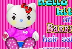 Игры Хелло Китти в парикмахерской Барби