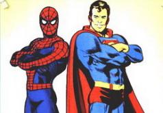Игра Человек паук и Супермен раскраска