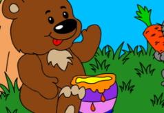 Игра Раскраска для малышей: медведь и кролик