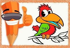 игры раскрась забавную птицу