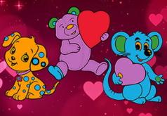 Игра Раскраски с животными на День Валентина