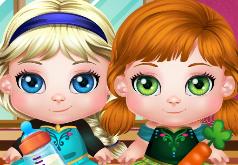 Игра Анна и Эльза ухаживают за малышами